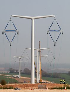 The UK's first new electricity pylon in 90 years has been installed.