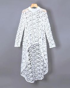 Womens Fashion - Crochet Irregular Hollow Out See Through Blouse – Benovafashion African Lace, African Dress, African Fashion Dresses, Fashion Outfits, Womens Fashion, Style Fashion, Crochet Blouse, Crochet Lace, Mode Crochet