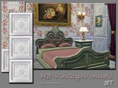 MB-VintageVenueU_SET, matching old fashion wallpaper and paneling, partly with lovely floral rose tendril design, come in 3 wall hights and custom thumbnail, created for Sims 4, by matomibotaki....