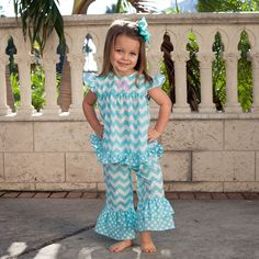 Check out this Aqua Chevron Dot Flutter Ruffle Capri Set or find your favorite gifts at Lolly Wolly Doodle. Click on the link to receive 344.00 dollars off your next order!