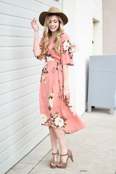 Peach Floral Wrap Midi Dress