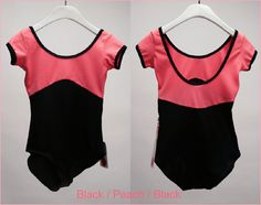Yumiko anna leotard in black and pink with cap sleeves