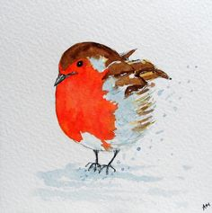 Original Watercolour Painting: BIRDS:  ROBIN (BABY) #Impressionist