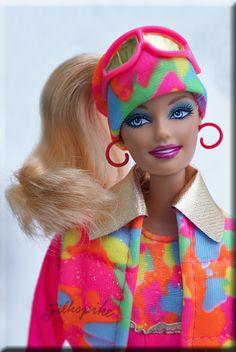 Barbie Fashionista dressed in 80's Vintage Barbie Ski outfit.