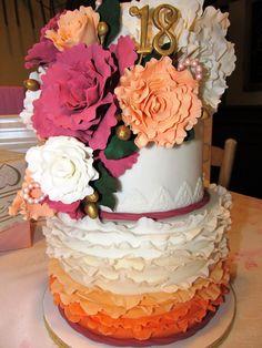 Ruffles and Peonies 18th birthday cake
