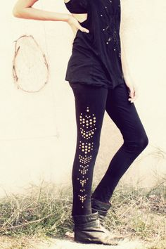 black studded Leggings // tribal // indie // boho // by SiamicWear, €39.00