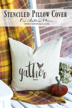Easy Stenciled Pillow Cover | Gather Here | Make this farmhouse style pillow cover in just minutes. Super budget friendly home decor and gift idea!