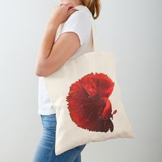 The Betta fish is a symbol for independence and the defiant spirit, warrier energy, deep knowledge and creativity. The male Betta is extremely territorial and lives most of it's life in solitude. Cotton Tote Bags, Reusable Tote Bags, Cute Kiss, Siamese Fighting Fish, Betta Fish, Framed Artwork, Chiffon Tops, Personal Style, Low Poly