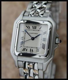 MEN'SUNISEX CARTIER PANTHERE 1310 STAINLESS STEEL w DATE, c. 2007