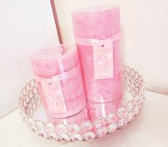 ♡ Breakfast at Shawna's ♡ Cute Pink, Pretty In Pink, Feminine Decor, Pink Candles, Just Peachy, Beautiful Candles, Pretty Lights, Vintage Roses, Scented Candles