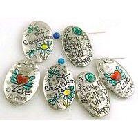 5 silver 2 hole slider beads 11262