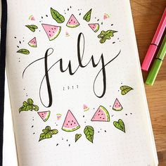 "Gefällt 653 Mal, 15 Kommentare - Elies Indigne (@eliesindigneart) auf Instagram: ""Here's my bullet journal cover and weekly setup for July  went with a bright summery theme! .…"""