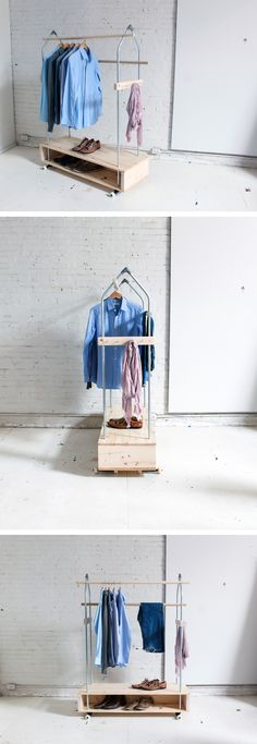 You can never have enough closet space; build this garment rack to make room for more clothes! Check out the website for instructions: http://www.homemade-modern.com/ep31-garment-rack/