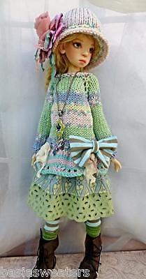 KNIT PASTEL DRESS SET FOR NELLY SD KAYE WIGGS Dollstown Elf Body BY BARBARA