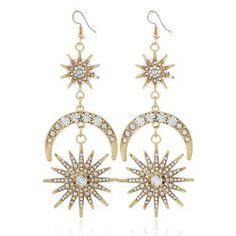 $5.04---Vintage Rhinestone Inlay Star Moon Hook Earrings