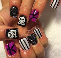 Black & White Combo | Jack Skellington Nail Decals | Halloween Nails | Halloween Nail Art  weloveglitterdesign.com