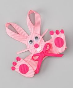 This colorful bow adds fun pizzazz to playdates, parties and everyday activities. The bright bunny is affixed to a ribbon-lined alligator clip that slides easily into tresses. x ribbon / metalImported Ribbon Hair Clips, Ribbon Art, Ribbon Hair Bows, Diy Hair Bows, Diy Bow, Ribbon Crafts, Hair Barrettes, Hairbows, Headbands