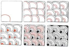 Zentangle Basic Patterns | This blog as a lot of examples of how to creat Zentagle style doodles ...