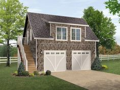 One bedroom garage apartment over two car garage plan.