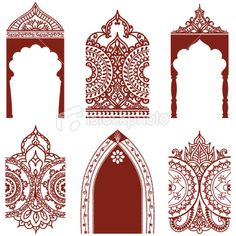 Mehndi Arches and Borders Royalty Free Stock Vector Art Illustration Mehndi, Henna, Islamic Art Pattern, Pattern Art, Pattern Ideas, Stencil Printing, Screen Printing, Free Vector Graphics, Free Vector Art