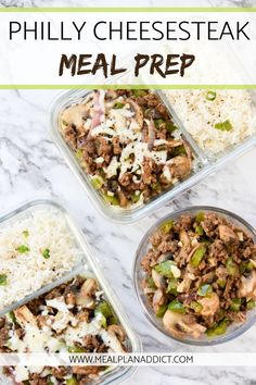 Philly Cheesesteak Meal Prep A delicious idea to make when you meal prep for the week Try this simple meal prep recipe next time you food prep Pin now to use this meal prep idea later Cheap Clean Eating, Clean Eating Snacks, Clean Simple Eats, Diet Food To Lose Weight, Weight Loss, Reduce Weight, Beef Recipes, Healthy Recipes, Healthy Snacks