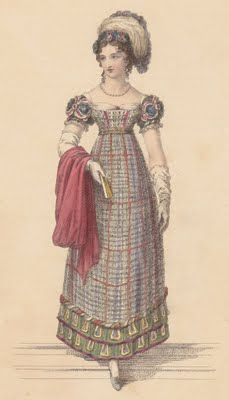 Tartan empire dress!  The 1820s ushered in the start of the craze for all things Scottish, led by the King himself, that would be taken to extreme lengths by Queen Victoria in the 1850s and beyond…here's a tartan Evening Dress, with elaborately appliqued sleeves and a slightly more restrained hem