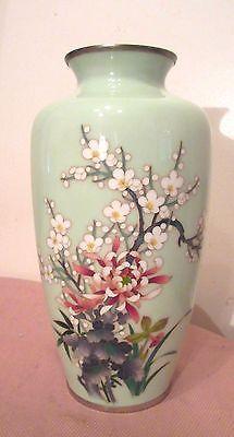 Antique Japanese Ando cloisonné sterling silver enamel light green floral vase