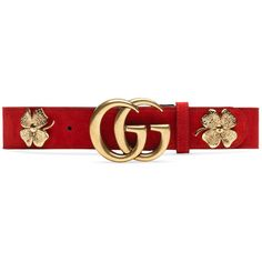 Gucci Clover Belt With Double G Buckle (735 CAD) ❤ liked on Polyvore featuring accessories, belts, gucci, red, studded waist belt, red suede belt, studded belt and red waist belt