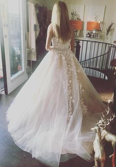 Elegant Tulle Lace Ball Gown, Ivory Prom Dress, Blue Prom Dress, Strapless Prom Dress, Formal Prom Dress, Long Prom Dress, Prom Dress for Teens MT20185728