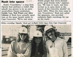 """Before recording """"Signals"""", Rush got in-flight NASA tapes from Cape Canaveral"""