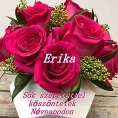 Name Day, Erika, Roses, Inspirational Quotes, Happy, Flowers, Plants, Life Coach Quotes, Pink
