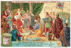 Charlemagne receiving samples of fabrics and embroidery from the ambassadors of…