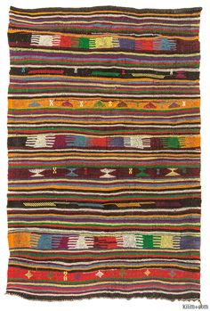 Vintage Turkish kilim rug handwoven in 1960's. This striped kilim with small jijim weavings is in very good condition.