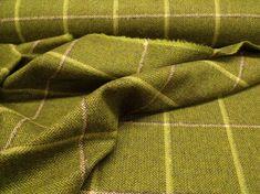 SKU Fabric Description Type Pure New Wool Soft Tweed Fabric Colour Fir x Lime Herringbone Ground. Windowpane in Grey/Ivory/Olive Tartan Fabric, Wool Fabric, Caravan Upholstery, Check Fabric, Herringbone, Pure Products, Etsy, Country, Rural Area