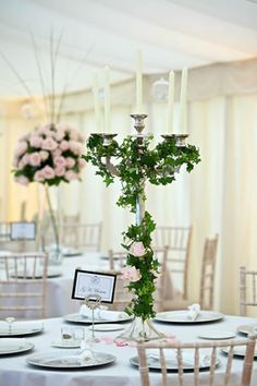 Creative Wedding Table Centrepiece Ideas To LOVE centerpieces candleabras Candelabra Wedding Centerpieces, Candelabra Flowers, Silver Candelabra, Wedding Table Centerpieces, Centrepiece Ideas, Wedding Tables, Centerpiece Flowers, Wedding Reception Decorations, Wedding Ideas