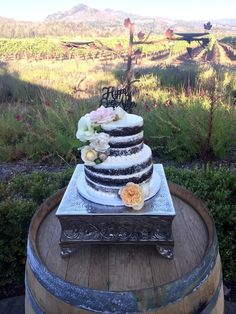 I don't want chocolate for a wedding cake but I like the way this one is done.My Photo Album on WeddingWire