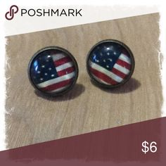 🎀 Antique Bronze / American Flag Studs🎀 12mm Lead/Nickel free posts with rubber backs.  Mix and match any 3 pairs in my closet for $14.  (1) Pair for $6 (2) Pairs for $11 (3) Pairs for $14 Jewelry Earrings