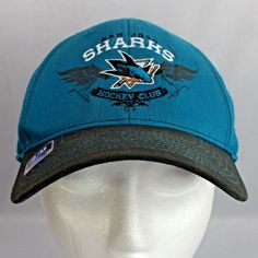 San Jose Sharks Reebok Fitted Ball Cap Small Medium Turquoise with Black  Bill e992753eb783