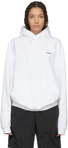 Vetements - White Embroidered Logo Hoodie