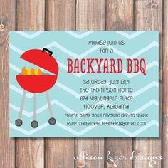 Backyard BBQ Printable Invitation by AllisonKizerDesigns on Etsy, $15.00