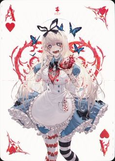 Alice (Alice in Wonderland) Image - Zerochan Anime Image Board Dark Anime Girl, Anime Girl Cute, Kawaii Anime Girl, Anime Art Girl, Anime Chibi, Yandere Anime, Chica Anime Manga, Anime Angel, Anime Devil