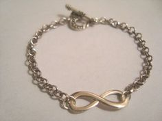 Silver Infinity Bracelet with Sliver chain Chain by BiancasArt Infinity, Chain, Trending Outfits, Unique Jewelry, Bracelets, Handmade Gifts, Silver, Etsy, Vintage