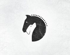 logo for horse stables & dog training center // negative space / clean / illustration / logo / double meaning /