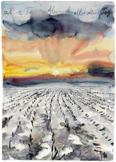 Anselm Kiefer (Germany b. 1945)  aller Tage Abend, aller Abende Tag  - The Evening of All Days, the Day of All Evenings (2014)  watercolor on paper