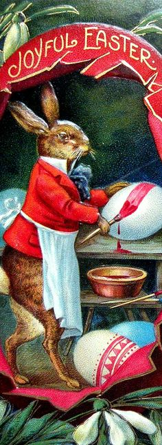 Easter Bunny Artist painting his egg - vintage anthropomorphic postcard.