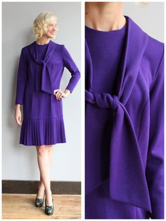 1960s Dress // Parisian Purple Wool Dress // by dethrosevintage