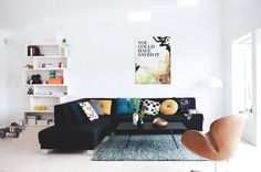 bright white + black couch