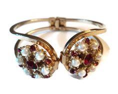 Vintage Clamper Bracelet Rhinestone And by EraAntiquesandFinds