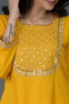 Talking Threads Signature Long Tunic Kurtas Are Crafted In Fine Fabrics And Adorned With Exquisite Embroideries The Focus Is As Much On Embroidery Design And Workmanship As On The Quality Of Construction This Sunglow Yellow Long Tunic Kurta Is Adorned Wit Silk Kurti Designs, Salwar Neck Designs, Kurta Neck Design, Kurta Designs Women, Dress Neck Designs, Kurti Designs Party Wear, Blouse Designs, Embroidery Suits Punjabi, Hand Embroidery Dress