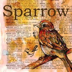 Sparrow mixed media drawing on distressed, dictionary page - flying shoes art studio - Amazingly DIY Book Page Art, Art Pages, Book Art, Altered Books Pages, Newspaper Art, Dictionary Art, Bible Art, Art Journal Inspiration, Illustrations